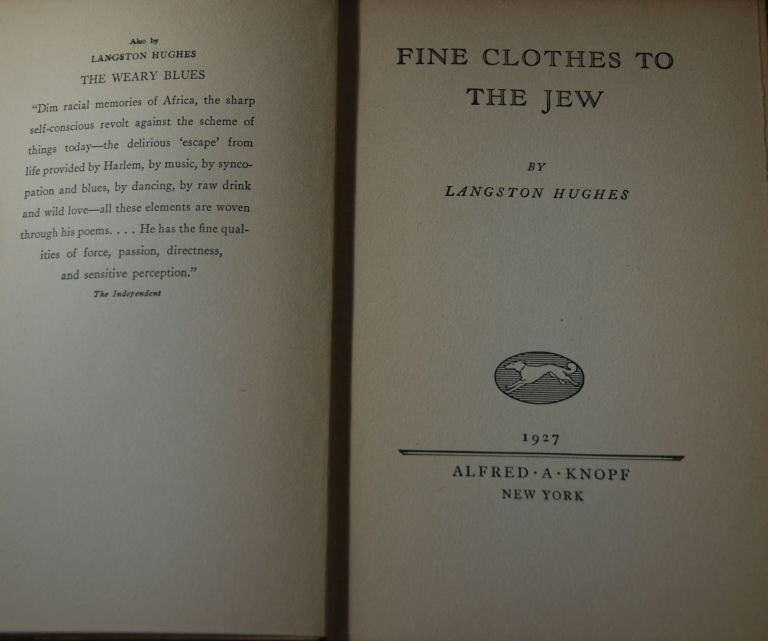 FINE CLOTHES TO THE JEW; (poems). Langston HUGHES.