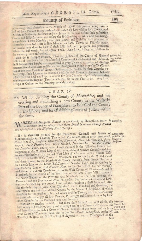 [Anno Regni Regis GEORGE III. Primo, 1761. Lord's-Day] AN ACT PASSED BY THE GREAT AND GENERAL COURT; of his Majesty's Province of the Massachusetts-Bay in New England: Begun and held at Boston, upon Wednesday the twenty-eighth Day of May, 1760. An continued by Prorogations until Wednesday the twenty-fifth of March following, and then met. BERKSHIRE COUNTY - PITTSFIELD.