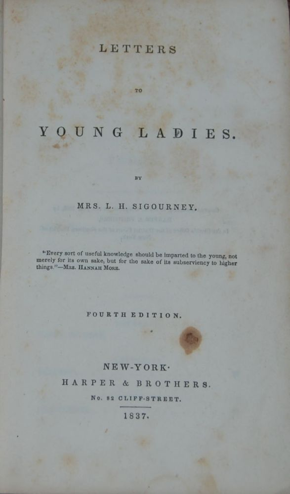 LETTERS TO YOUNG LADIES. SIGOURNEY, ydia, untley.