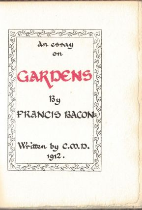 AN ESSAY ON GARDENS; a calligraphic manuscript by C. M. D.