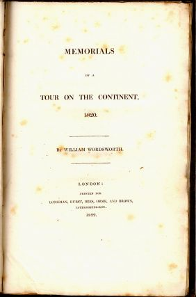 MEMORIALS OF A TOUR ON THE CONTINENT, 1820