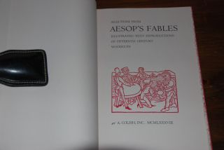 AESOP'S FABLES; Illustrated with reproductions of fifteenth century woodcuts. AESOP.