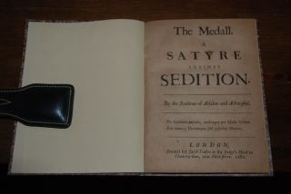 THE MEDALL; A Satyre Against Sedition by the author of Absalom and Achitophel