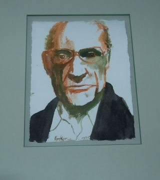 WATER COLOR OF PORTAIT OF ARTHUR MILLER. ARTHUR MILLER, Leonard BASKIN.