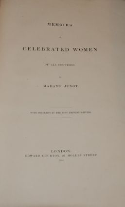 MEMORIS OF CELEBRATED WOMEN OF ALL COUNTRIES; with portraits by the most eminent masters. Madam...