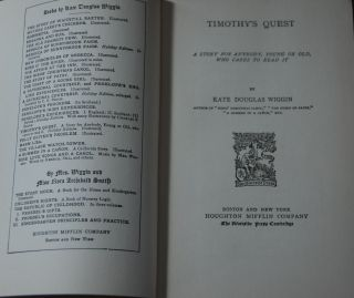 TIMOTHY'S QUEST.; A story for anybody, young or old, who cares to read it.